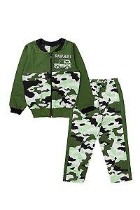 Conjunto Moletom Infantil Masculino Safari Verde Militar