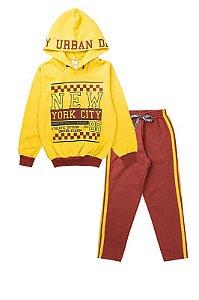 Conjunto de Moletom Infantil Masculino New York Amarelo