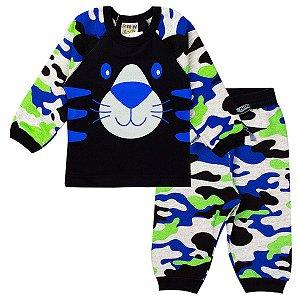 Conjunto Infantil Masculino Camuflado Azul - Fantoni