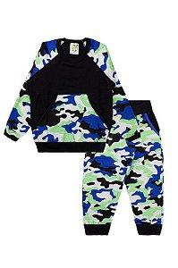 Conjunto Infantil Menino Moletom Camuflado C/ Bolso Azul