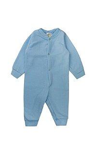Macaquinho Macacão Bebê Menino Com Botão Soft Azul