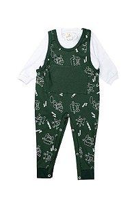 Conjunto Jardineira Bebê Menino Com Botões Verde - Isensee