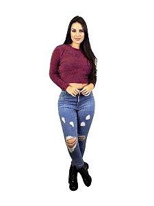 Cropped tricot blusa manga longa pelinho