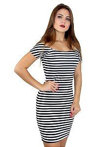 Vestido listrado feminino curto ombro a ombro manga curta