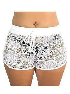 Shorts Saída De Praia Em Renda Transparente
