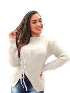 Blusa tricot lã feminina com detalhes de fita e fenda