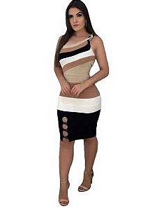 Vestido ombro só alça trançada tricot modal curto