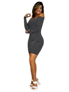 Vestido listrado feminino curto ombro a ombro manga longa