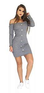 Vestido canelado feminino manga longa com botões