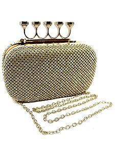 Bolsa clutch englesh com brilhante com alça corrente