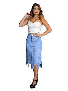 Saia jeans midi destroyed com botões moda instagram