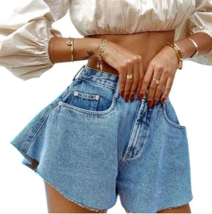 Short godê evasê flare jeans cintura alta 36 Ao 42