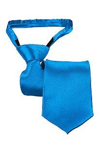 Gravata slim fit com zíper e laço pronto azul