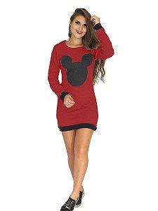 Vestido Moletom Mickey Com Capuz
