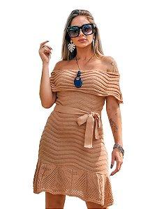 Vestido Tricot Ciganinha Rodado Tomara Que Caia