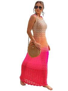 Vestido longo alça estampa tie dye colorido