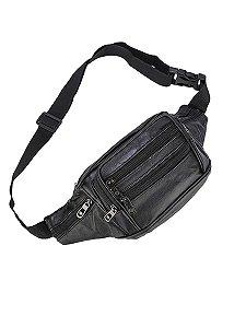 Pochete masculina bolsa cintura motoqueiro couro