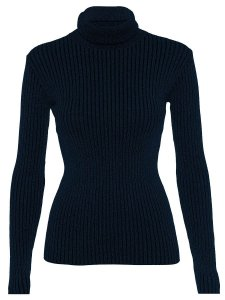 Cacharrel Blusa Tricot Lã Feminina Canelada Gola Alta