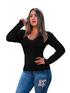 Blusa cardigan tricot trançadinho feminina
