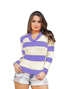 Blusa Tricô Tricot Listrada Feminina Suéter Gola V