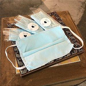 Kit Máscaras Tecido Azul 5 unidades