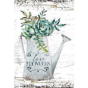 Placa Regador Love Flowers