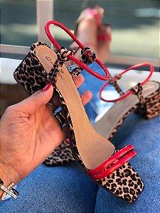 Sandália onça tala vermelha