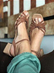 Sandália Tiras Croco Nude
