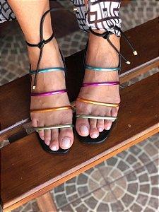 Sandália Preta com Tiras Metalizadas Multicolor
