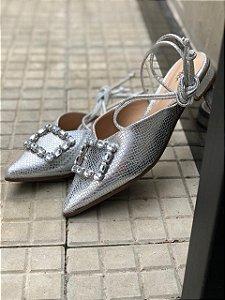 Chanel Amarração Metalizado Prata com Pedraria
