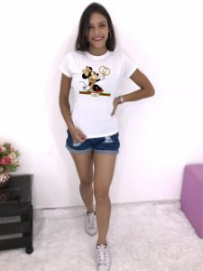 T-SHIRTS FEMININA POLIÉSTER MINNIE DOURADO MARCA