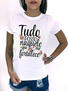 T-SHIRTS FEMININA POLIÉSTER OFF TUDO POSSO