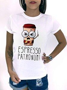 T-SHIRTS FEMININA POLIÉSTER OFF ESPRESSO PATRONUM