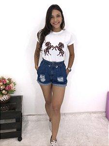 T-SHIRTS FEMININA POLIÉSTER OFF CAVALO FLORIDO