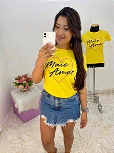 T-SHIRTS FEMININA ALGODÃO AMARELO MAIS AMOR