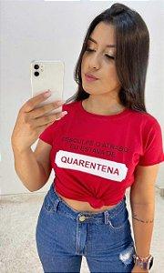 T-SHIRTS FEMININA ALGODÃO VERMELHA DESCULPE O ATRASO