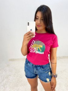 T-SHIRTS FEMININA ALGODÃO ROSA ROAAAR