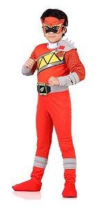 Fantasia Power Ranger Dino Charge Vermelho Infantil Luxo