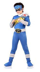 Fantasia Power Ranger Dino Charge Azul Infantil Luxo