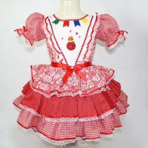 Vestido de festa junina maça do amor