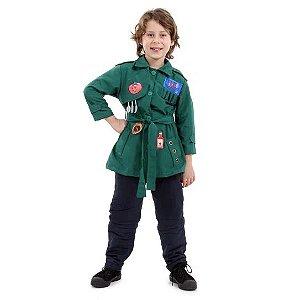 Fantasia DPA Infantil Luxo Verde - Pippo. Detetives do Prédio Azul