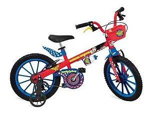 Bicicleta Infantil Aro 16 - DC Comics - Liga da Justiça - Mulher Maravilha Bandeirante