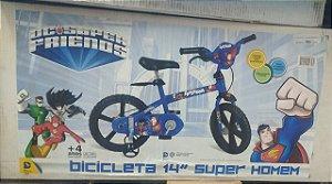 Bicicleta Infantil Aro 14  - DC Comics - Liga da Justiça - Super Homem Bandeirante