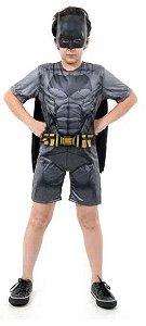 Fantasia Batman Infantil Curto com Musculatura - Liga da Justiça