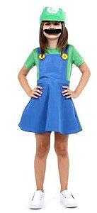 Fantasia Luigi Feminino Vestido Infantil - Super Mario World