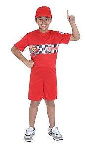 Fantasia Piloto de Corrida Vermelho Curto Infantil