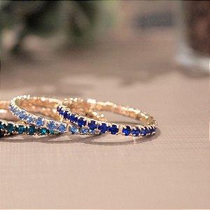 Anel cristal azul royal aliança folheado a ouro 18K hipoalergênico