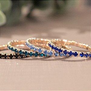 Anel cristal azul claro aliança folheado a ouro 18K hipoalergênico