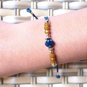Pulseira cristal azul marinho e mostarda fio azul marinho folheada a ouro 18K hipoalergênico