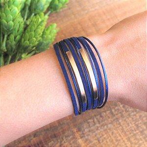 Pulseira detalhes geométricos de couro feminina camurça e fio azul marinho folheada a ouro 18K hipoalergênico
